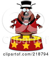 Royalty Free RF Clipart Illustration Of A Plump Circus Flea Standing On A Podium by Cory Thoman