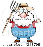 Plump Farmer Waving A Pitchfork In Anger