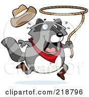 Royalty Free RF Clipart Illustration Of A Plump Raccoon Cowboy Swinging A Lasso by Cory Thoman
