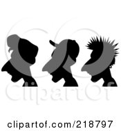 Royalty Free RF Clipart Illustration Of A Digital Collage Of Three Silhouetted Men With Different Hair Styles