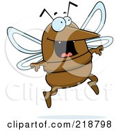 Royalty Free RF Clipart Illustration Of A Happy Mosquito Jumping by Cory Thoman