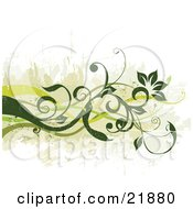 Clipart Picture Illustration Of Green Curly Vines With Flowers Over A Grunge White Background