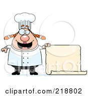 Royalty Free RF Clipart Illustration Of A Plump Female Chef Holding A Blank Scroll