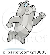 Royalty Free RF Clipart Illustration Of A Big Bulldog Leaping by Cory Thoman
