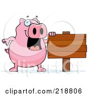 Royalty Free RF Clipart Illustration Of A Happy Pig By A Blank Sign