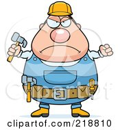 Plump Builder Man With A Fist And Hammer