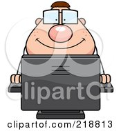 Royalty Free RF Clipart Illustration Of A Plump Computer Nerd Using A PC by Cory Thoman