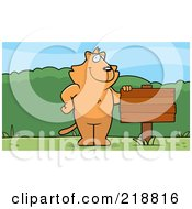 Royalty Free RF Clipart Illustration Of A Cat Standing Upright Beside A Blank Wood Sign Outdoors