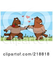 Royalty Free RF Clipart Illustration Of A Beaver Couple Dancing Outdoors