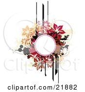 Clipart Picture Illustration Of A White Circle Text Space With Brown Tan Pink And Black Lines Splatters And Flowers On A White Background