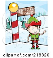 Royalty Free RF Clipart Illustration Of A Blond Christmas Elf Boy Waving By The North Pole by Cory Thoman