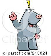 Royalty Free RF Clipart Illustration Of A Big Mole Standing Upright With An Idea by Cory Thoman