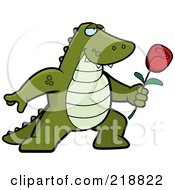 Royalty Free RF Clipart Illustration Of A Romantic Alligator Presenting A Red Rose For His Love by Cory Thoman