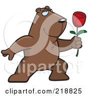 Royalty Free RF Clipart Illustration Of A Romantic Groundhog Presenting A Red Rose For His Love by Cory Thoman