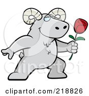 Royalty Free RF Clipart Illustration Of A Romantic Ram Presenting A Rose