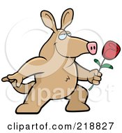 Royalty Free RF Clipart Illustration Of A Romantic Aardvark Presenting A Red Rose For His Love