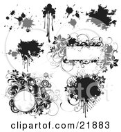 Collection Of Black And White Paint Splatters Grunge Smears And Floral Frames On A White Background