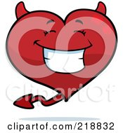 Royalty Free RF Clipart Illustration Of A Happy Devil Heart Character Smiling by Cory Thoman