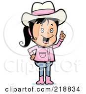Royalty Free RF Clipart Illustration Of A Black Haired Cowgirl With An Idea