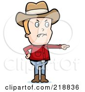 Royalty Free RF Clipart Illustration Of A Mad Cowboy Angrily Pointing