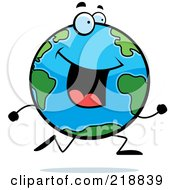 Royalty Free RF Clipart Illustration Of A Happy Globe Character Running by Cory Thoman
