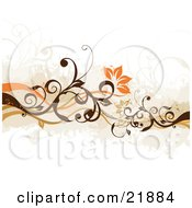 Clipart Picture Illustration Of A Floral Background Of Orange Flowers Blooming On Green And Brown Vines Over White