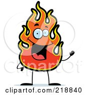 Royalty Free RF Clipart Illustration Of A Happy Flame Waving by Cory Thoman