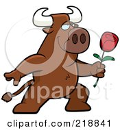 Royalty Free RF Clipart Illustration Of A Romantic Bull Presenting A Red Rose For His Love