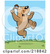 Royalty Free RF Clipart Illustration Of A Happy Dog Jumping Outdoors
