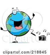 Royalty Free RF Clipart Illustration Of A Globe Doing A Happy Dance by Cory Thoman