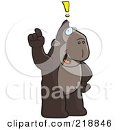 Royalty Free RF Clipart Illustration Of A Big Ape Standing Upright With An Idea by Cory Thoman