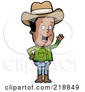 Royalty Free RF Clipart Illustration Of A Friendly Black Cowboy Waving