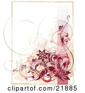 Red Curly Vine With Flowers Over A Pink Line And Grunge Background With A Tan Border