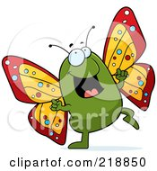 Royalty Free RF Clipart Illustration Of A Butterfly Doing A Happy Dance by Cory Thoman