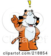 Royalty Free RF Clipart Illustration Of A Big Tiger Standing Upright With An Idea by Cory Thoman