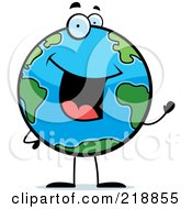 Royalty Free RF Clipart Illustration Of A Happy Globe Character Waving by Cory Thoman