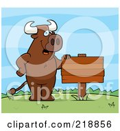 Royalty Free RF Clipart Illustration Of A Bull Standing Upright Beside A Blank Sign Outdoors
