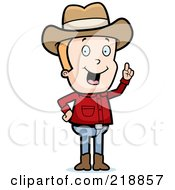 Royalty Free RF Clipart Illustration Of A Blond Cowboy With An Idea