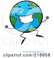 Royalty Free RF Clipart Illustration Of A Happy Globe Character Jumping by Cory Thoman