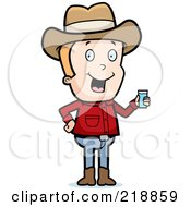 Royalty Free RF Clipart Illustration Of A Blond Cowboy Holding A Glass Of Water