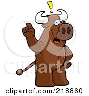 Royalty Free RF Clipart Illustration Of A Big Bull Standing Upright With An Idea by Cory Thoman