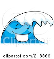 Royalty Free RF Clipart Illustration Of A Happy Blue Wave Character Smiling by Cory Thoman