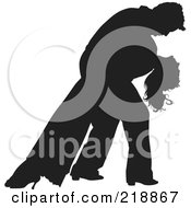 Royalty Free RF Clipart Illustration Of A Black Silhouetted Couple Dancing The Man Dipping The Woman by dero