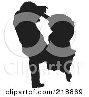Royalty Free RF Clipart Illustration Of An Aerial View Down On A Black Silhouetted Couple Dancing