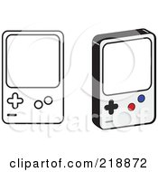 Digital Collage Of Black And White And Colored Handheld Video Game Devices