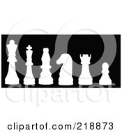 Royalty Free RF Clipart Illustration Of A Line Up Of Chess Pieces In White Silhouette by JR