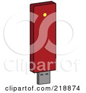 Royalty Free RF Clipart Illustration Of A Red Computer Data Flash Drive With A Yellow Light