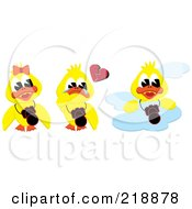 Digital Collage Of Three Yellow Ducks A Girl A Crying Boy And One On A Cloud