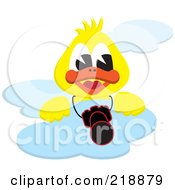 Yellow Duck On A Cloud With A Camera