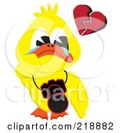 Yellow Duck Crying With A Broken Heart And A Camera Around His Neck